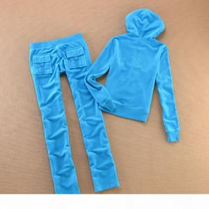 Velvet Tracksuit Juicy 2 Piece Set Women Outfits Casual Style Sweatsuit Hoodies Long Sleeve Tops+Pants Tracksuit For Sport S-XXL