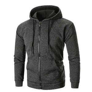 Rebicoo флисовой куртки мужчин с длинным рукавом Твердые толстовка с капюшоном зимняя куртка мужчин Top Tee Outwear ветровка Bomber и пальто