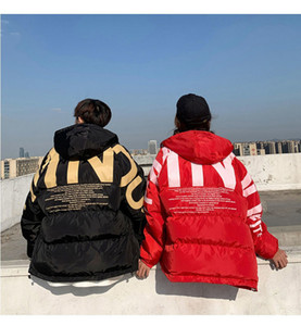 2020winter Men Streetwear Oversized Bubble Jacket 2020 Parka Mens Letter Print Hip Hop Fashions Windbreaker Womens Korean Coats