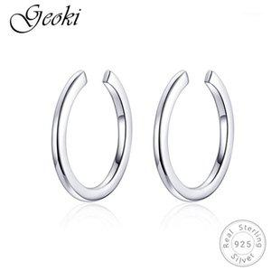 Geoki 925 Sterling Argent Minimaliste Boucles d'oreilles rondes originales S925 Simple cercle cercle Boucles d'oreilles pour femmes bijoux coréen femmes1