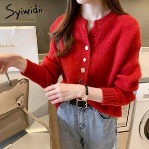 Botón Syiwidii Cardigan suéter rojo ocasional de las mujeres de Corea suave de punto abrigos sólido Batwing Otoño Invierno Ladies Tops 201016