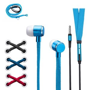 Shoelace Earphones 3.5mm In-Ear Earphone Subwoofer Music Headset With Microphone Stereo Earbuds Sport Running Earpiece Handsfree DHL free