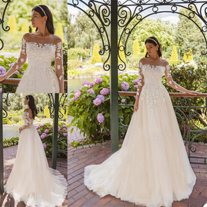 Cheap Elegant A Line Wedding Dresses Long Sleeves Chic Lace Appliqued Boho Bridal Gowns Custom Made Sweep Train Robes De Mariee