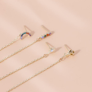 4Pcs Set Boho Rhinestone Rainbow Stars Flowers Chain Stud Earrings for Women Earring Set 2020 Fashion Party Jewelry Accessories