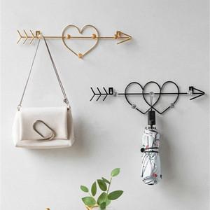 Nordic Metal Golden Hook Творческая форма сердце стена Крючки для подвешивания одежды двери спальни украшения Ключевой Вешалки сумка Стойка 33q8 #
