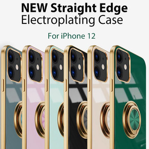 Entry lux NEW Square Straight Edge Electroplating PHONE CASE For IPHONE12 IPHONE 12 MINI PRO MAX IPHONE 11 PRO xr xs max 7 8 Plus