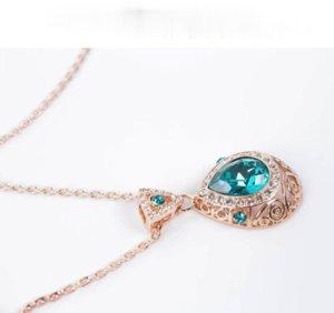 Blauer Kristall Schmuck Vergoldet Halskette Set Mode Diamant Hochzeit Braut Kostüm Schmuck Sets Party Ruby Jewelrys (Halskette + Ohrringe)