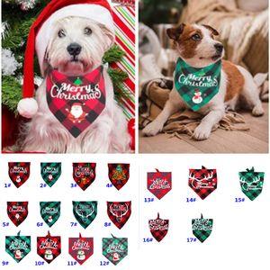 Christmas Bandanas For Dogs Plaid Pet Bandana For S M L Dogs Pet Scarf Triangle Bibs Kerchief Santa Snowman Print Pet Bandana HH9-3575