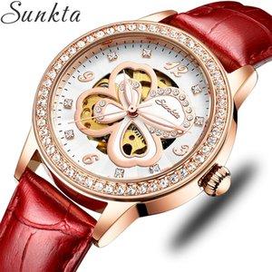 Relogio Feminino Sunkta Femmes Mécanique Automatique Mode strass creux Montre Design bracelet en cuir Horloge étanche