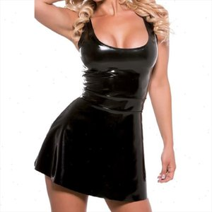 Summer Dress Women Clubwear Faux Leather Slim Fit Sexy Fashion Nightclub Casual A Line Short Dress