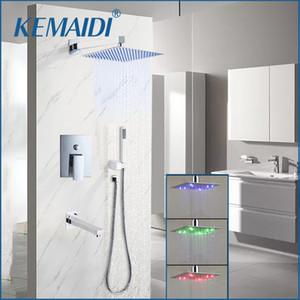 "KEMAIDI Bathroom Wall Mounted 8"" Rain Shower Head Válvula Mixer Tap W / Mão Chrome chuvas chuveiro Shower Faucet Set 201110"