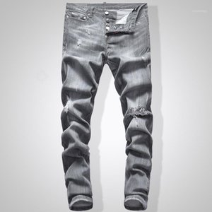 Graue Jeans Männer Slim Fit Denim Solide Farbe Hip Hop Streetwear Biker Jeans 744 # 1