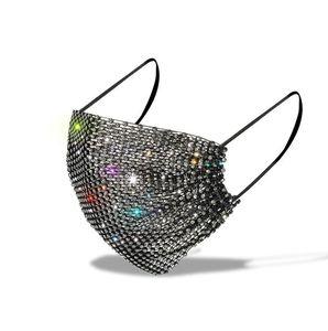 DHL الأزياء الماس قناع الكبار مكافحة الغبار تنفس الفم بلينغ كريستال قناع الوجه أقنعة واقية قابل للغسل قابلة لإعادة الاستخدام الوجه للنساء