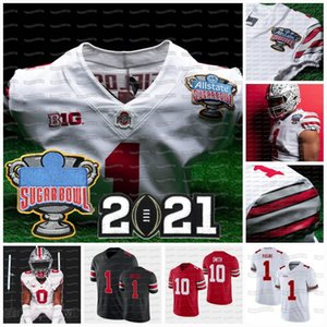 Ohio State Buckeyes 2021 Playoff National Championships 1 Justin Fields Master Teague III Wilson Werner Wade NCAA College Football Jersey
