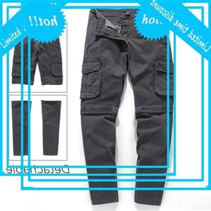 Ucrazy erkek bahar yeni rahat pamuk ayrılabilir kargo pantolon moda dış giyim çok cepler yıkanmış dimi pantolon erkekler