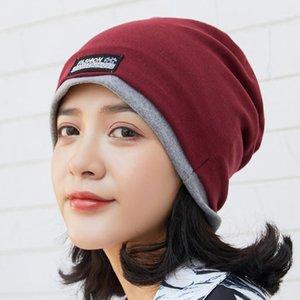 Okkdey mulheres beanie chapéu outono inverno manter quente puro algodão malha chapéu moda hip-hop gorros unisex casual macio turbante caps1
