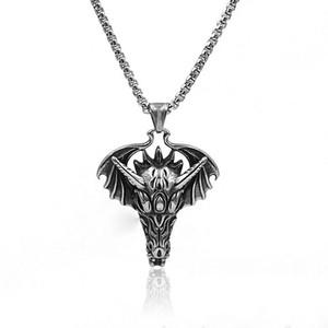 Fashion Chinese style Dragon Head Pendants Ornaments Retro Animal Zodiac Dragon Head Pendant Necklace Stainless steel jewelry