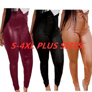 Черный Burgundy кофейного цвета PU кожаные штаны высокой талией Леггинсы Колготки для женщин Женская мода Тощий Trouses Назад молнии Брюки F92904