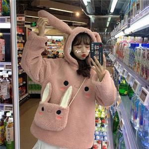 EACHIN Donne Warm Cute Bunny cappuccio Grils manica lunga Moda coniglio bello Sacchetto incappucciato femminile inverno allentati Felpe Casual 201007