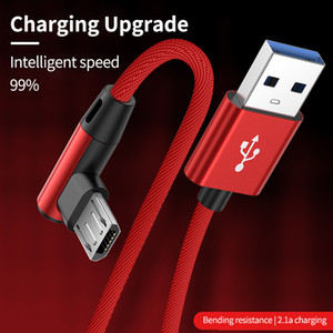 Angle USB Charging Cable 1m to 3m Micro USB Type C TypeC for Huawei Samsung Android Mobile Phone Cord Wire