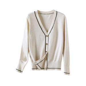 Contrast Piping Cardigan Women V Neck Wool Blended Cardigan Sweater S-XL Y200917
