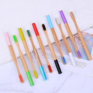 1PC el medio ambiente de madera del arco iris Cepillo de dientes Cepillo de dientes de bambú de fibra de bambú mango de madera cepillo de dientes que blanquea arco iris OWE1982