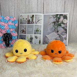 Virar reversível Octopus Stuffed Plush Doll macio Simulação reversível Plush Toy Cor Capítulo Plush Doll Cheio Toy Criança