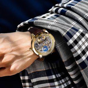 FORINING 2019 Moda Mekanik Automitc Erkek Saatler Üst Marka Lüks Altın Saat Deri Kayış Ay Evresi Horloges Mannen