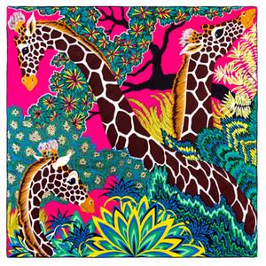POBING Ручных свернул саржевые шелковый шарф Женщины Три Жирафы квадратных шарфов Echarpes Foulards Femme Wrap Бандан Хиджаб 90см Y201007