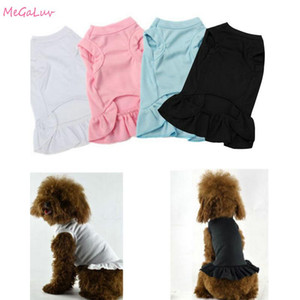 Breatheable Ruffle Dress Dog Clothes Soft Vest Skirt Pet Cat Cloth Costume Spring and Summer Solid Color Dog Dress For Chihuahua
