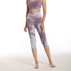 Nouvelle cravate colorant exercice de gymnastique haut élastique pantalon étanche à la haine nue hache levant yoga costume
