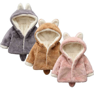 2021 New Winter Baby Girls Clothes Faux Fur Fleece Coat Pageant Warm Snowsuit 0-5y Kids Rabbit Hooded Jacket Outerwear 3 Color Igiq