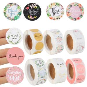 500pcs floreale Grazie Baby Shower 1st Compleanno regalo scatole borse Seal Etichetta adesivi Scrapbooking Stationery Q1218