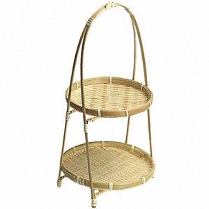 Bamboo Weaving palha cestas Nível cremalheira Wicker Fruit Bread armazenamento cozinha Decore redonda Placa Levante Container-Second Floor Djtx #