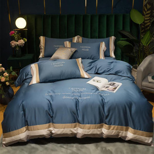 High-end quality Egyptian cotton bedding set embroidered satin light luxury 60S quilt cover duvet cover bed sheet pillowcases