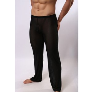 Сильные мужские Sexy Soft Mesh Sheer Прозрачный Stretch Pant Брюки Sleepwear прозрачные штаны мужчины Homewear Perspective Пижамы