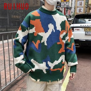 RUIHUO New Spring Casual Sweater Men Slim Fit Knitted Pullover Men Fashion Brand Camouflage Mens Sweaters Warm Tops M-2XL 201118