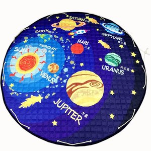 solar system planets pattern polyester fabric quilting mat kids children round carpet diameter 150cm toys storage bags