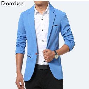 Dreamkeel 2021 Nouveaux hommes de luxe costumants costumants robe blazer slim masculin jack fit blazer pour hommes réguliers bleu y1