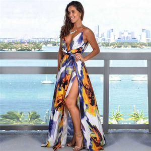 Boho Long Maxi Summer Sexy Strappy Deep V Neck Backless High Split Dress Women Elegant Party Dresses Floral Vestidos