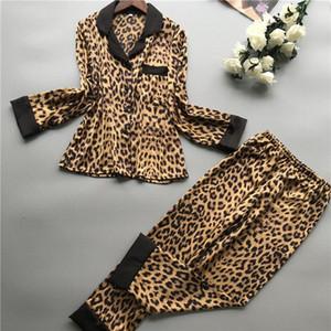 Yaz Uzun Kollu Pijama Kadın Imitate Gerçek İpek Pajama Leopar Seksi pijamalar Y200425 B17e # yazdır