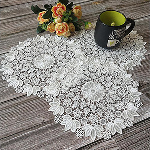Delicate Table Placemat Napkins Round Mat Pad Christmas Lace Doilies Hollow Embroidery Flowers Coasters Banquet Wedding Decor