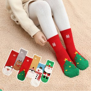 3-12 ans chaussettes en coton Printemps Automne Hiver Bébé Filles Garçons Enfants Chaussettes enfants plumes fil flocon de neige Père Noël Sapin de Noël