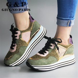 Mixed color ladies sneakers casual luxury designer sneakers with glitter women fashionable shoes black suede leather insole plus 201110