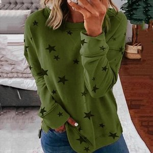 Hoodies Star Print Autumn Fashion Casual Sweatshirt Open Side Poleron Mujer Harajuku Loose Women O Neck Hoodie 2021