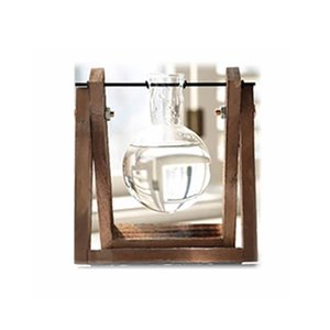 Hydroponic plant transparent wooden frame vase desktop small fresh container vintage Good-looking Professional 1 pcs