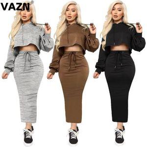 VAZN Solid Sepcial 2020 Top Pant Prodotti coordinati Sexy Club Compleanno rifornisce con cappuccio sexy Night Club Moda donne insieme delle 2 parti