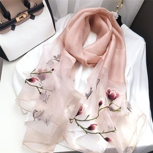 2020 new wool with gradual color embroidery, flowers, mulberry silk warm scarves, sunscreen scarves for women