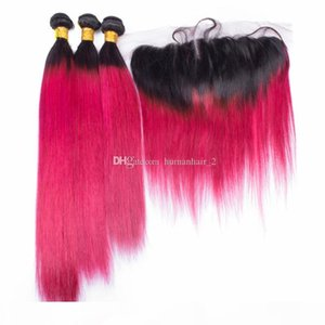 8A Malaysian Ombre Rose Red Virgin Hair Bundles With Lace Frontal Closure 1B Red Ombre Straight Human Hair Weaves With Lace Frontal