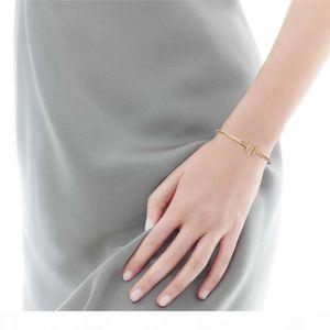 Titanium Steel Cubic Zirconia Letter T Wire Bracelets Bangles for Women Pulseiras Adjustable Bracelet Femme Fashion Jewelry